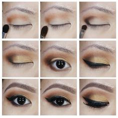 Warm brown and gold smoky eyes using Kat Von D Monarch palette