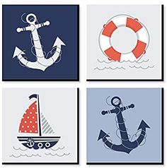 Decorating for your little one's arrival is easy with this modern nursery décor set in the adorable Ahoy - Nautical theme. Professionally printed Ahoy - Nautical nursery wall art includes four coordinating prints that are designed on a durabl Nautical Room Decor, Modern Nursery Decor, Nautical Baby, Nautical Artwork, Kids Room Wall Art, Baby Wall Art, Wall Art Sets, Big Dot Of Happiness, Pirate Nursery