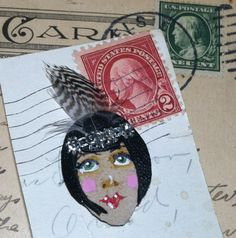 Milly   Leather Flapper pin by FloranceandLeah on Etsy, $15.00
