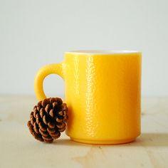 Yellow Fire King Mug - Anchor Hocking Milk Glass Mug. $6.00, via Etsy.