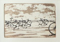 original etching of bicycles by the sea by atelier28 on Etsy, $25.00