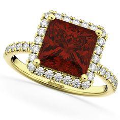 Square Cut Halo Garnet & Diamond Engagement Ring 14K Yellow Gold 3.47ct -Allurez.com