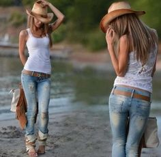Cowboy hat, ripped jeans and white shirt for ladies... Click the ...