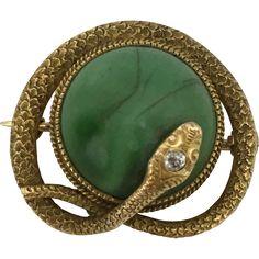 Vintage Krementz & Co Malachite & Diamond 14K Snake Serpent Pin