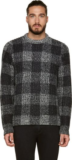 Rag & Bone: Black & Grey Check Knit Theo Sweater | SSENSE