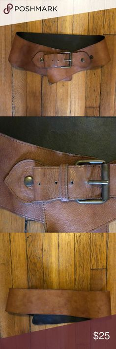 Wide leather belt This belt is so beautiful! I purchased it in St. Barth's at Calypso. Really gorgeous caramel leather. Can be adjusted to sit at the waist or the hips. Accessories Belts