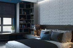 Дизайн интерьера спальни. Вид на книжную зону