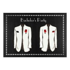 Gay Bachelor Party Invitation with two Tuxedos