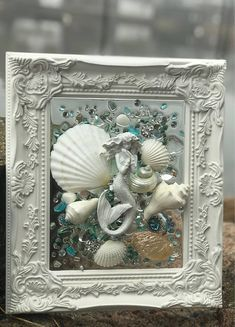 14 shabby chic beach glass art frameThanks debrapeirson for this post.This is a handmade, one of a kind, sea glass/beach glass art piece. The photo represents the exact piece you will receive, please use the zoom feature to see all of the# Sea Glass Beach, Sea Glass Art, Sea Glass Jewelry, Stained Glass, Silver Jewelry, Seashell Art, Seashell Crafts, Seashell Projects, Diy Projects