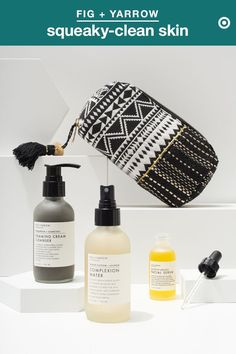 Looking to keep your skin squeaky clean all summer long? Try switching up your regimen in warmer months. Start with Fig + Yarrow Foaming Cream Cleanser, made with charcoal to detox skin and fight acne-causing impurities. Follow with a spritz of Complexion Water to nourish skin. (Tip: Keep it in the fridge for a refreshing boost on hot days.) Then finish with Argan Facial Serum for a boost of hydration. Bonus: It's all natural.