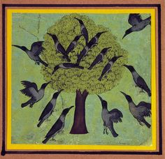 Artist unknown, opaque watercolour on paper, India, century (from theshipthatflew via: VAM) Crow Indians, Raven Art, Botanical Drawings, Medieval Art, Heart Art, Ancient Art, Bird Art, Indian Art, Pottery Art