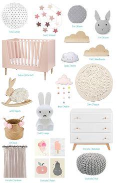Styleboard Mädchenzimmer in rosa, grau und weiß mit Hasen und Wolken