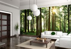 Sunbeam through Trees - Wall mural, Wallpaper, Photowall, Home decor, Fototapet