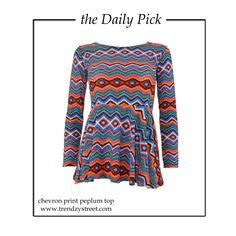 Peplum tops never go out of style. Why would they, when you can wear them in so many different ways! Buy ‪#‎theDailyPick‬ - http://www.trendzystreet.com/chevron-print-peplum-top-tzs5615