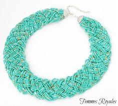 Handmade African beaded necklace. Beaded braid chocker necklace. Follow us on social media @Femmes Royales