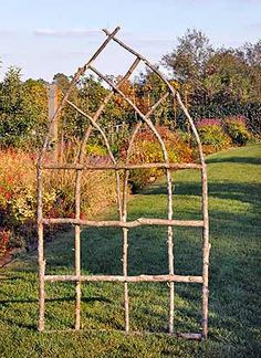Made from found twigs/branches. Lovely and rustic for veg garden, much prettier than an ordinary trellis Made from found twigs/branches. Lovely and rustic for veg garden, much prettier than an ordinary trellis Diy Trellis, Garden Trellis, Trellis Ideas, Lattice Ideas, Clematis Trellis, Arch Trellis, Bamboo Trellis, Tomato Trellis, Wisteria Trellis