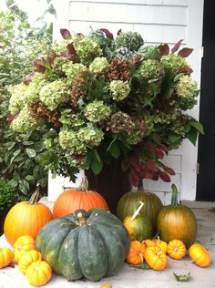 Fall Porch- I need to cut and dry my hydrangeas. Beautiful