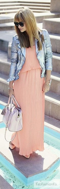 Pastel maxi dress with denim jacket