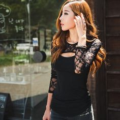 Stylish elegant office work Sexy Women Lace O-Neck Long Sleeve Shirt Casual Blouse Tops For lady Blouse Sexy, Blouses For Women, T Shirts For Women, Sexy Women, Sexy Shirts, Lady, European Fashion, European Style, Casual Tops