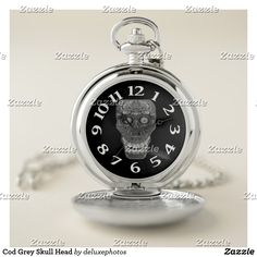 Cod Grey Skull Head Pocket Watch