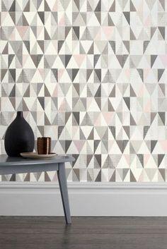 Blush Tri Textured Geo Wallpaper