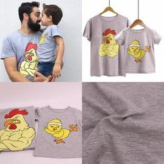 Chicken Big & Lil Matching T-Shirts – Cece Match Father Son Matching Shirts, Matching Family Outfits, Father Daughter, My Boys, Sons, Daddy, Chicken, Big, Swimwear