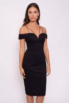 Black Suedette Bardot Midi Dress | Rare London