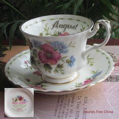 Royal Albert Flower of the Month AUGUST - Bone China Tea Cup and Saucer by LauriesFineChina on Etsy