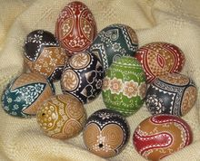 Decorated in Scratch, Acid and Wax Technique.  These eggs have been an Easter tradition for centuries in Sorbian,Poland, Hungary and the Czech Republic.