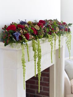A beautiful festive garland is the ideal way to dress your fireplace, ready for Santa's arrival.