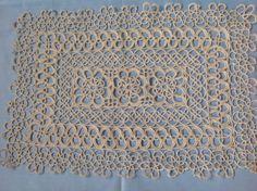 FREE SHIPPING.... Beautiful Vintage Ecru Handmade Cotton Tatting Lace Rectangular Doilie. by fleursenfrance. Explore more products on http://fleursenfrance.etsy.com