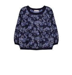 Brocade blouse with scoop neckline