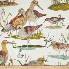 Golding by P/Kaufmann Waterfowl Duck Autumn Fabric Bird Curtains, Printed Curtains, Tapestry Headboard, White Washed Furniture, Painted Brick Walls, Interior Decorating Styles, Interior Ideas, Interior Design, Bird Theme