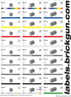 Sample of our 1xN Brick set of labels... These are labels from the storage and… http://www.brickgun.com/Labels/BrickGun_Storage_Labels.html