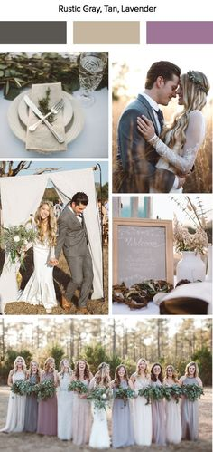 Rustic gray, tan, and lavender wedding color palette