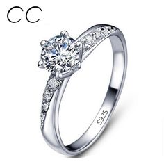 Classic Simple Design White gold plated Engagement Rings For Women CZ Diamond Wedding Band Jewelery Anillos Bijoux As Gift CC061