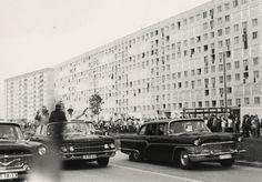 Fidel Castro und Erich Honecker zu Besuch in Halle-Neustadt im Juni 1972