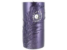 "3"" x 6"" Purple Candle with Metallic Purple Feather 