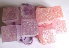 OOAK set of 4 glitter sugar cube hair bands. Shimmer pony tail tie. head dress. stretchy hair accessory. Pink and lilac hair tie. Sweet 16.