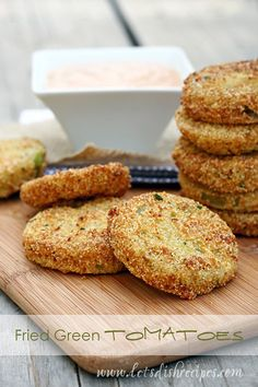 Best Fried Green Tomatoes with Barbecue Buttermilk Dipping Sauce (Market Monday)