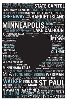 Minneapolis | St Paul Heart Poster. This is awesome, buy this: http://visummmedia.bigcartel.com/product/minneapolis-st-paul-heart-poster