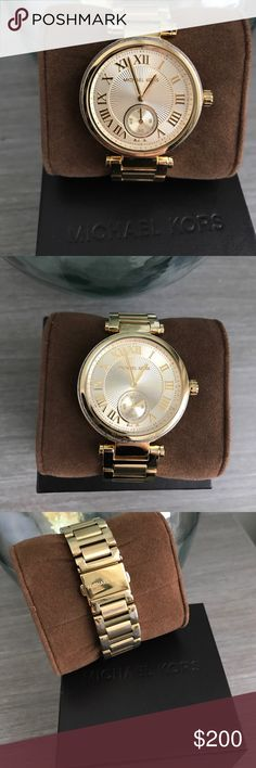 Michael Kors Gold boyfriend watch with cz stones AUTHENTIC Michael Kors Gold boyfriend watch with cz stones around face. Looks amazing! Has small bit of wear on the back near clasp from rubbing on desk at work. Absolutely no scratches or marks on the face of watch. Comes with 3 extra links Michael Kors Accessories Watches