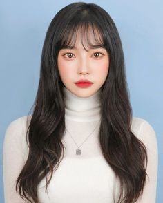 Korean Haircut Long, Korean Bangs Hairstyle, Korean Long Hair, Korean Hair Color, Korean Hairstyles Women, Redhead Hairstyles, Hairstyles With Bangs, Japanese Hairstyles, Asian Hairstyles