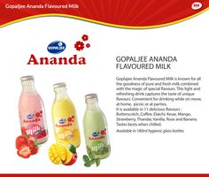 Gopaljee Ananda Flavoured Milk - Goodness of pure and fresh milk. Available in 11 delicious flavours. #Milk  #FlavouredMilk