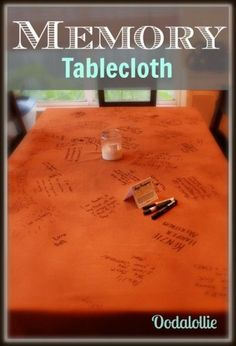 Family Reunion Memory Tablecloth Time to pull out the memory tablecloth again this year for thanksgiving. Family Reunion Activities, Family Games, Family Reunions, Youth Activities, Group Games, Family Gatherings, Family Reunion Decorations, Table Decorations, Thanksgiving Traditions