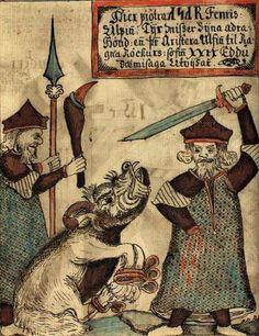 Fenrir bites off the hand of Týr. 18th C. Icelandic manuscript.