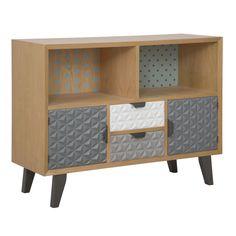 Mobile a 2 ante 2 cassetti e 2 ripianiin legno di abete, legno di quercia,MDFe metallo.