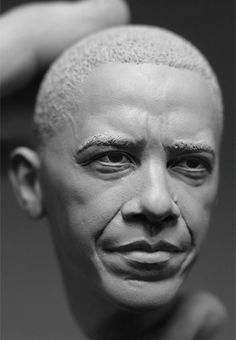 portrait sculpture barack obama 2011 Adam Beane. Cx5 clay.