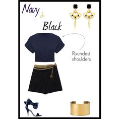 """Navy and Black"" by imajumaican on Polyvore"