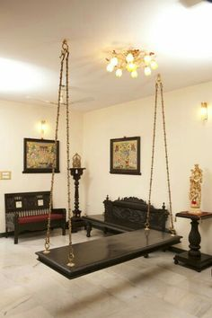 Oonjal - Wooden Swings in South Indian Homes - Oonjal – Wooden Swings in Indian Homes - Indian Home Design, Indian Interior Design, Ethnic Home Decor, Indian Home Decor, Living Room Designs, Living Room Decor, Dining Room, Home Swing, Indian Living Rooms